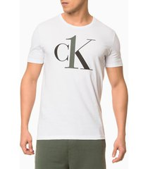 camiseta masculina ck one branca logo preto loungewear calvin klein - xl
