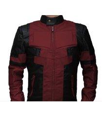 new handmade deadpool leather jacket in maroon  and black leather- deadpool movi