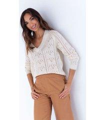 suéter tejido para mujer crudo manga 3/4 con detalles calados