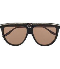gucci eyewear rhinestone aviator sunglasses - black