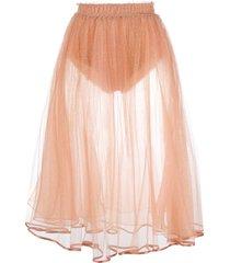 elisabetta franchi sheer a-line skirt - pink