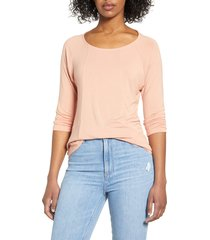 women's liverpool ballet neck seamed top, size x-small - coral