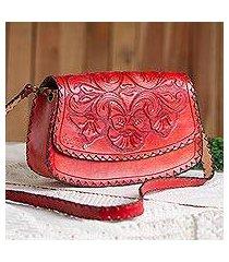leather handbag, 'scarlet bouquet' (mexico)