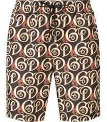 dolce & gabbana logo drawstring swim shorts - black