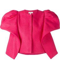 delpozo ruffle-detail cropped jacket - pink