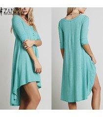 zanzea vestir ocasional de las mujeres suelta de algodón elegantes botones de cuello en v manga de la mitad más vestidos asimétricos (verde) -verde