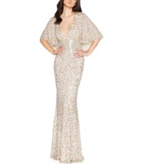 mac duggal embellished capelet gown
