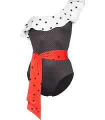 ganni prentis one shoulder ruffle swimsuit - black