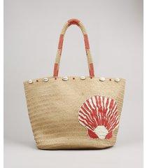 bolsa feminina shopper grande com palha e bordado bege claro