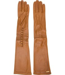 dsquared2 calf leather long gloves - brown
