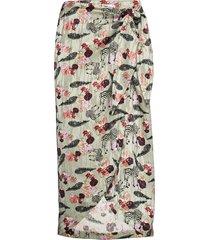 skirt w. wrap around look in walkin knälång kjol multi/mönstrad coster copenhagen