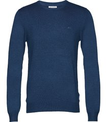 mélange round neck knit stickad tröja m. rund krage blå lindbergh