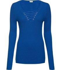 maglione a costine con stringatura (blu) - bodyflirt boutique