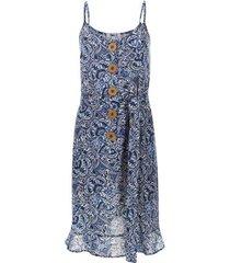 vestido en lino estampado  lineas color azul, talla 10