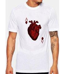 summer casual tee top poker stampa rotonda collo t-shirt manica corta per uomo