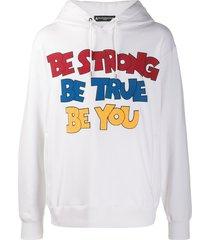 mastermind world textured logo hoodie - white