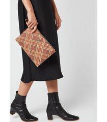 vivienne westwood women's derby pouch - brown/tartan