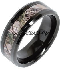 8mm mens tungsten ring real oak camouflage black plated wedding band size 8-16