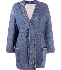 philosophy di lorenzo serafini tie-waist quilted denim coat - blue