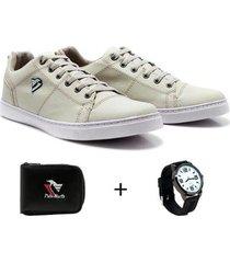 sapatênis polo north masculino + carteira casual + relógio - masculino