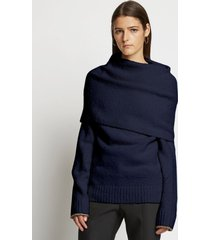 proenza schouler fold over textured knit sweater 00401 navy/blue l
