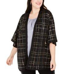 belldini plus size sequined kimono cardigan