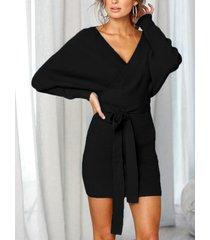 negro sin espalda diseño escote en v manga larga vestido