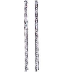 aretes largos cadenas color plata, talla uni