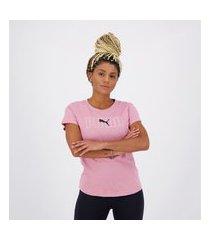 camiseta puma rebel graphic feminina rosa