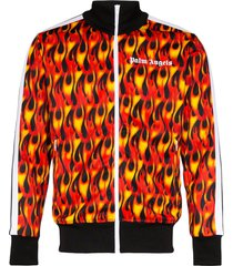 palm angels flame-print track jacket - black