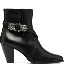 giannico bejewelled buckle ankle booties - black