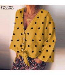 zanzea camisas con botones de lunares de manga larga para mujer blusas sueltas con cuello en v blusas -amarillo