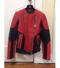 men handmade vintage h&m x balmain jacket biker unoffical copy biker red zipper