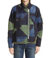 women's sacai hank willis thomas patchwork jacket, size 1 - blue