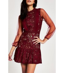 river island womens forever unique red lace waisted mini dress