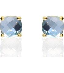 orecchini a lobo placcato oro con pietra azzurra per donna