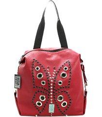 mochila roja leblu mariposa