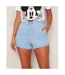 short de moletom básico feminino cintura alta com bolsos azul claro