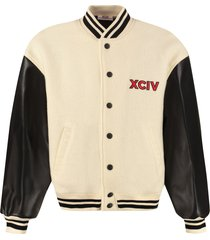 gcds faux leather sleeves bomber jacket
