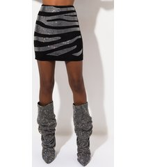 akira zebra rhinestone high waisted mini skirt