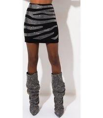 akira zebra rhinestone high waisted mini skirt
