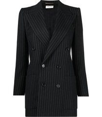 double breasted striped blazer jacket, noir and blanc