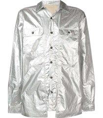rick owens drkshdw babel cargo pocket cotton shirt - silver