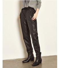 pantalón negro portsaid relax vegan leather