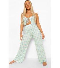 gingham pyjama set met ingekorte broek en strik, multi