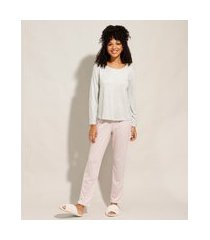 pijama manga longa com estampa xadrez vichy cinza mescla