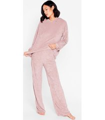 womens get it together knit hoodie and wide-leg pant set - mauve