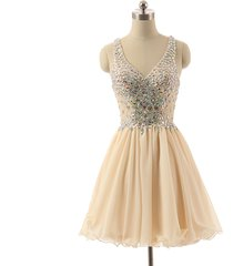 straps cross back beaded short champagne chiffon prom homecoming gown dress