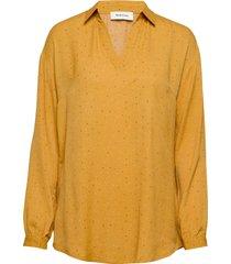 anastacia print shirt blouse lange mouwen geel modström
