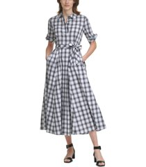 calvin klein plaid belted maxi dress